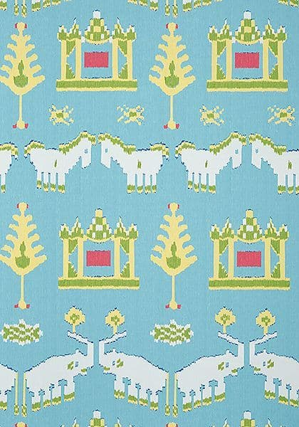 Thibaut Kingdom Parade Wallpaper in Turquoise